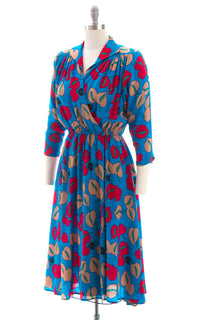1980s Floral Silk Day Dress