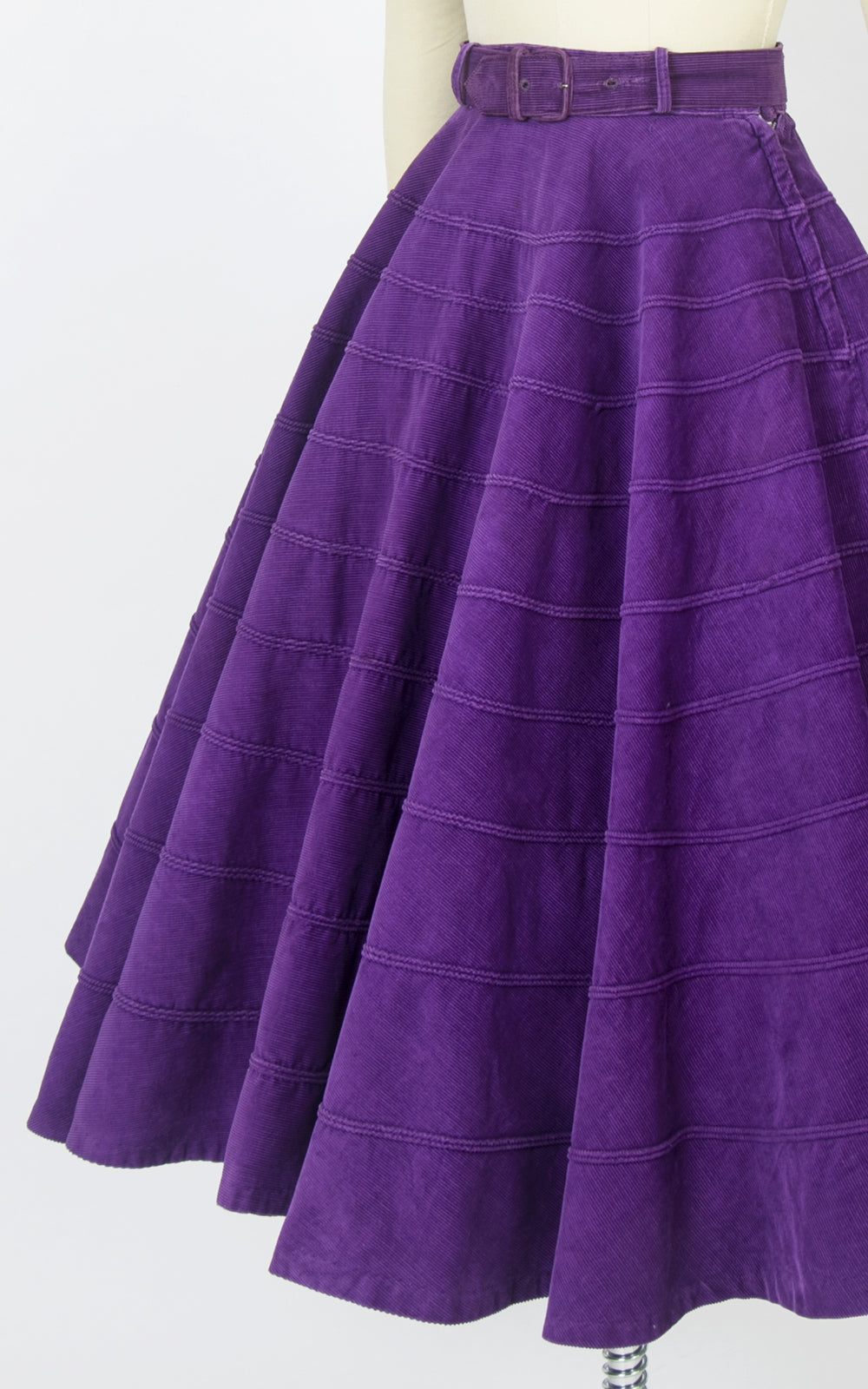 1950s Royal Purple Corduroy Skirt | x-small