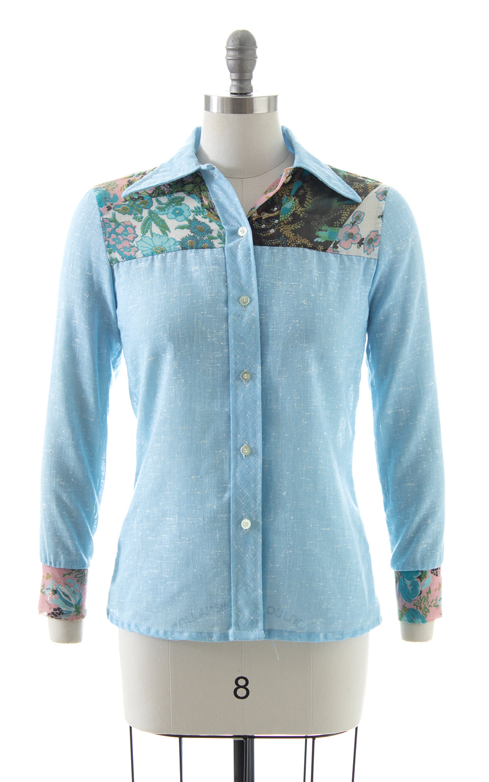 1970s Floral Chambray Blouse