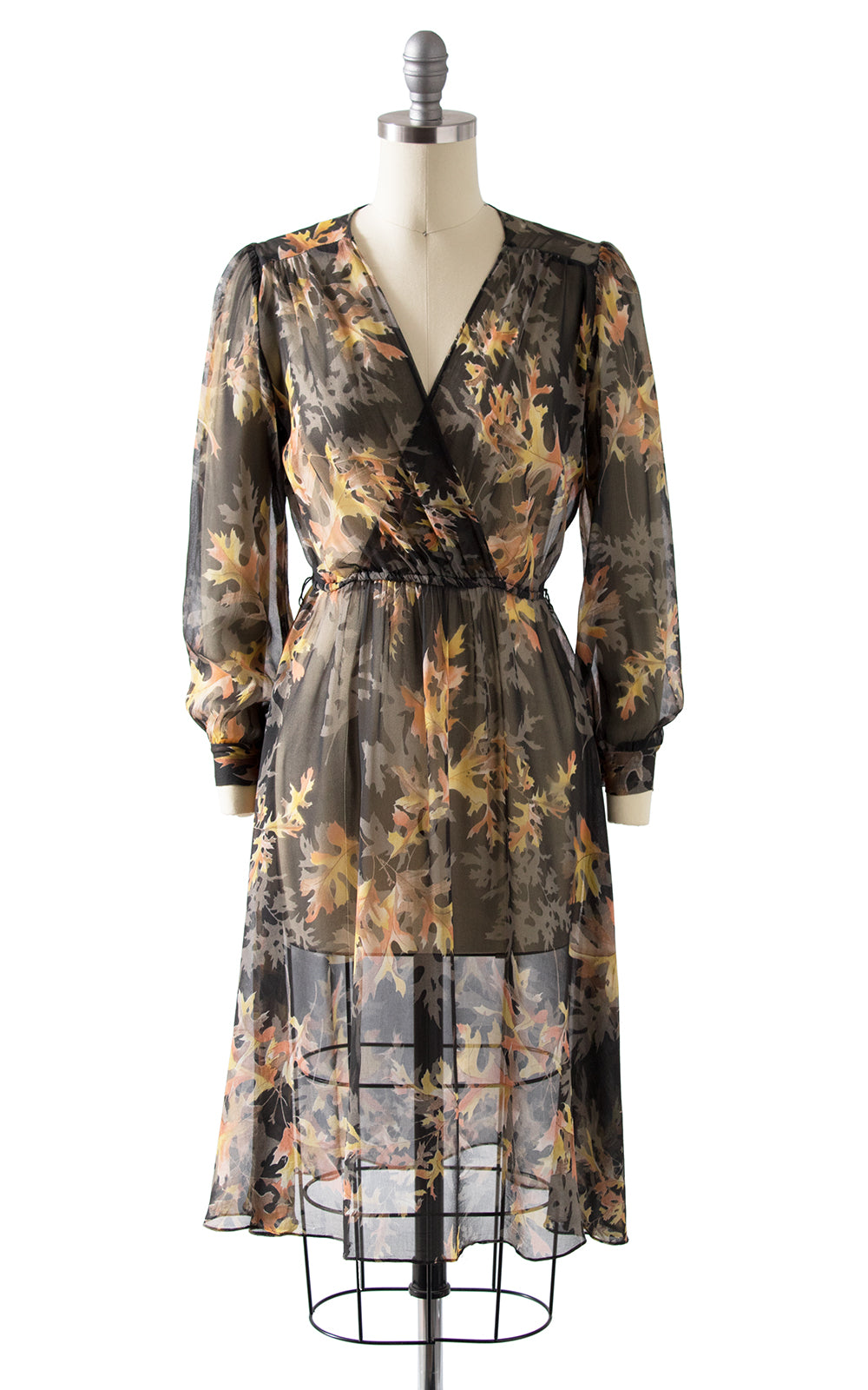 1980s Leaf Print Silk Chiffon Dress
