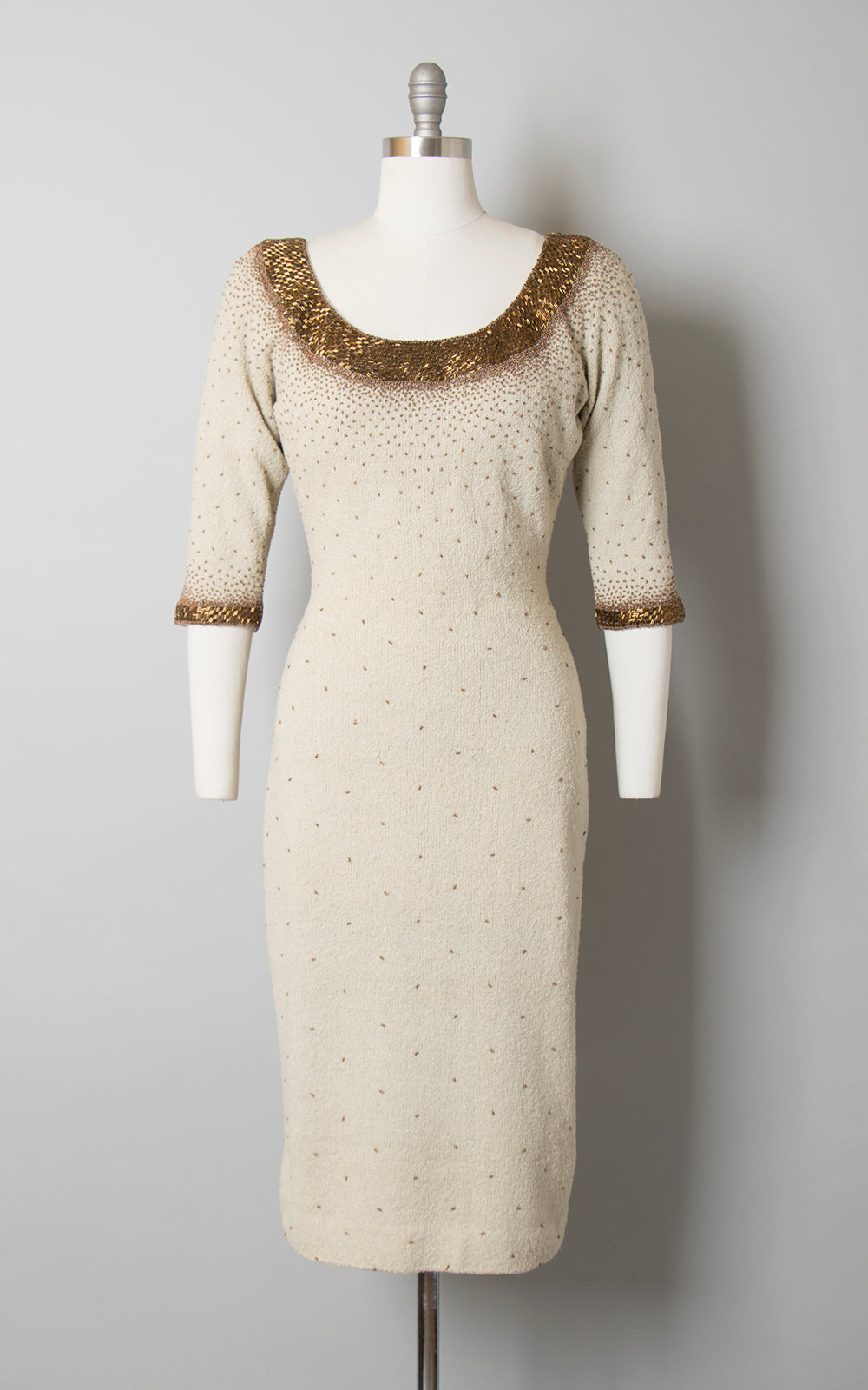 1950s Gene Shelly Beaded Knit Wool Dress | medium/large