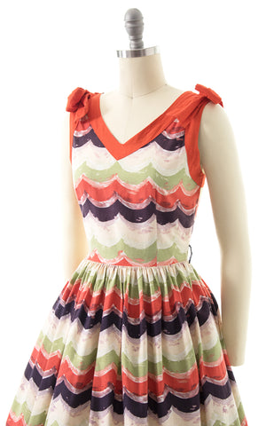 1950s Scalloped Cotton Bow Trim Sundress