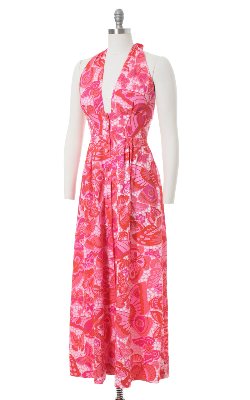 1970s Butterfly Novelty Print Pink Halter Maxi Dress