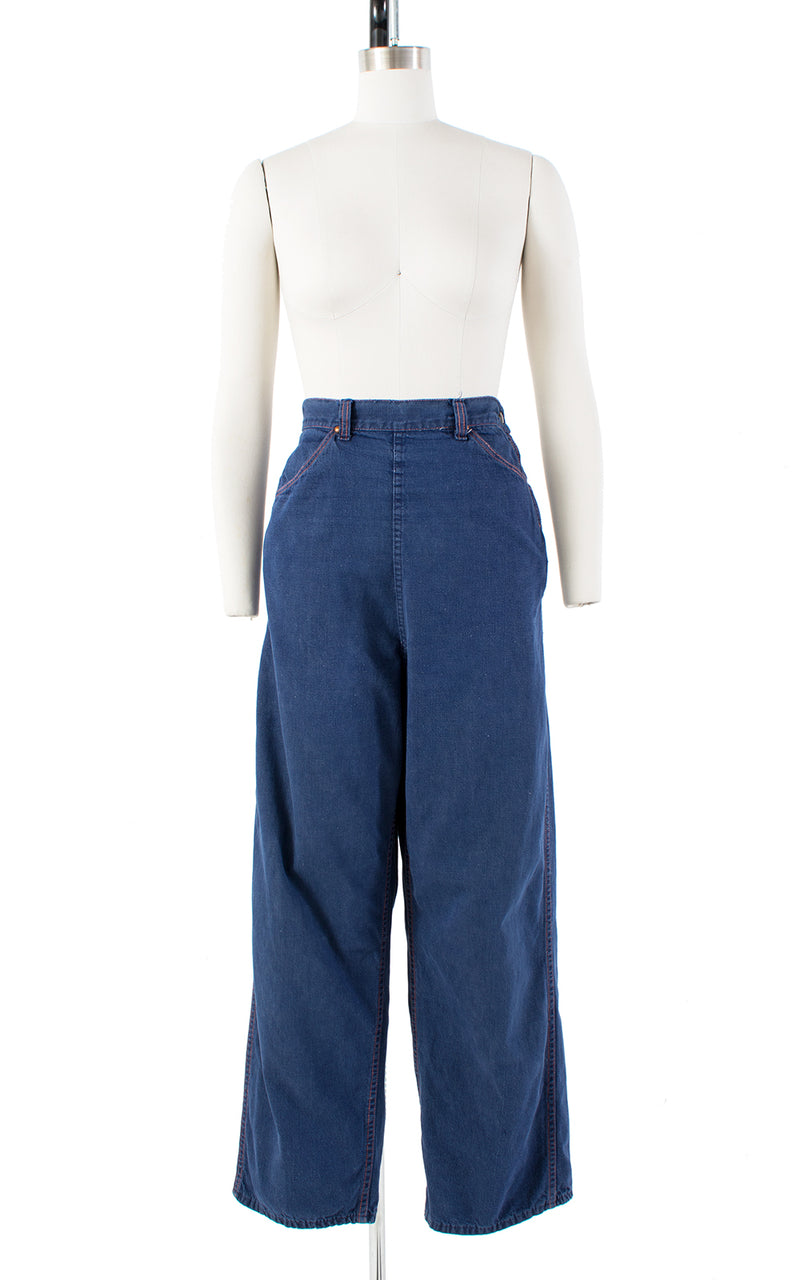 1940s Side Zipper High Waist Blue Denim Jeans | medium