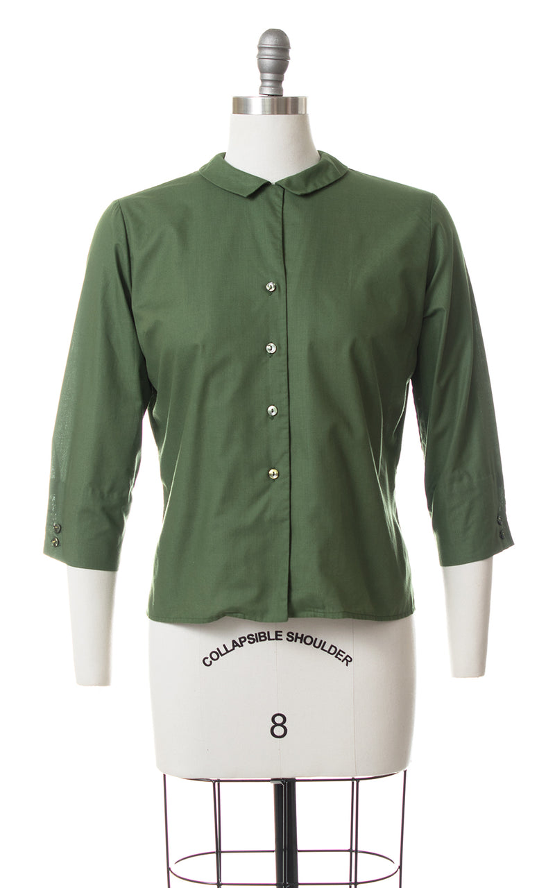 1950s Peter Pan Collar Green Blouse
