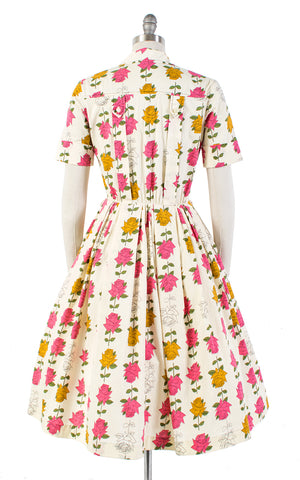 1950s Illustrated Rose Stems Cotton Shirtwaist Dress | medium