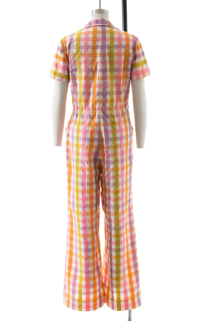 1970s Plaid Cotton Jumpsuit