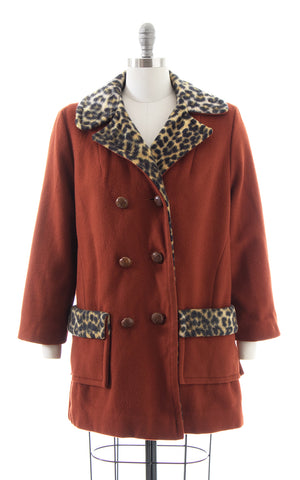 1960s 1970s Leopard Print Lined Burnt Rust Wool Pea Coat