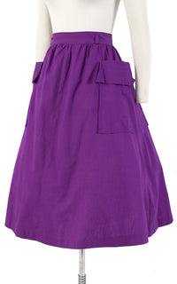 1950s Royal Purple Cotton Full Skirt with Big Pockets | medium