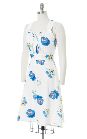 1930s 1940s Pansy Cotton Piqué Button Back Sundress