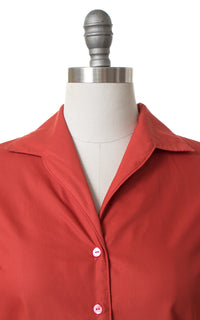 1950s Rust Red Blouse