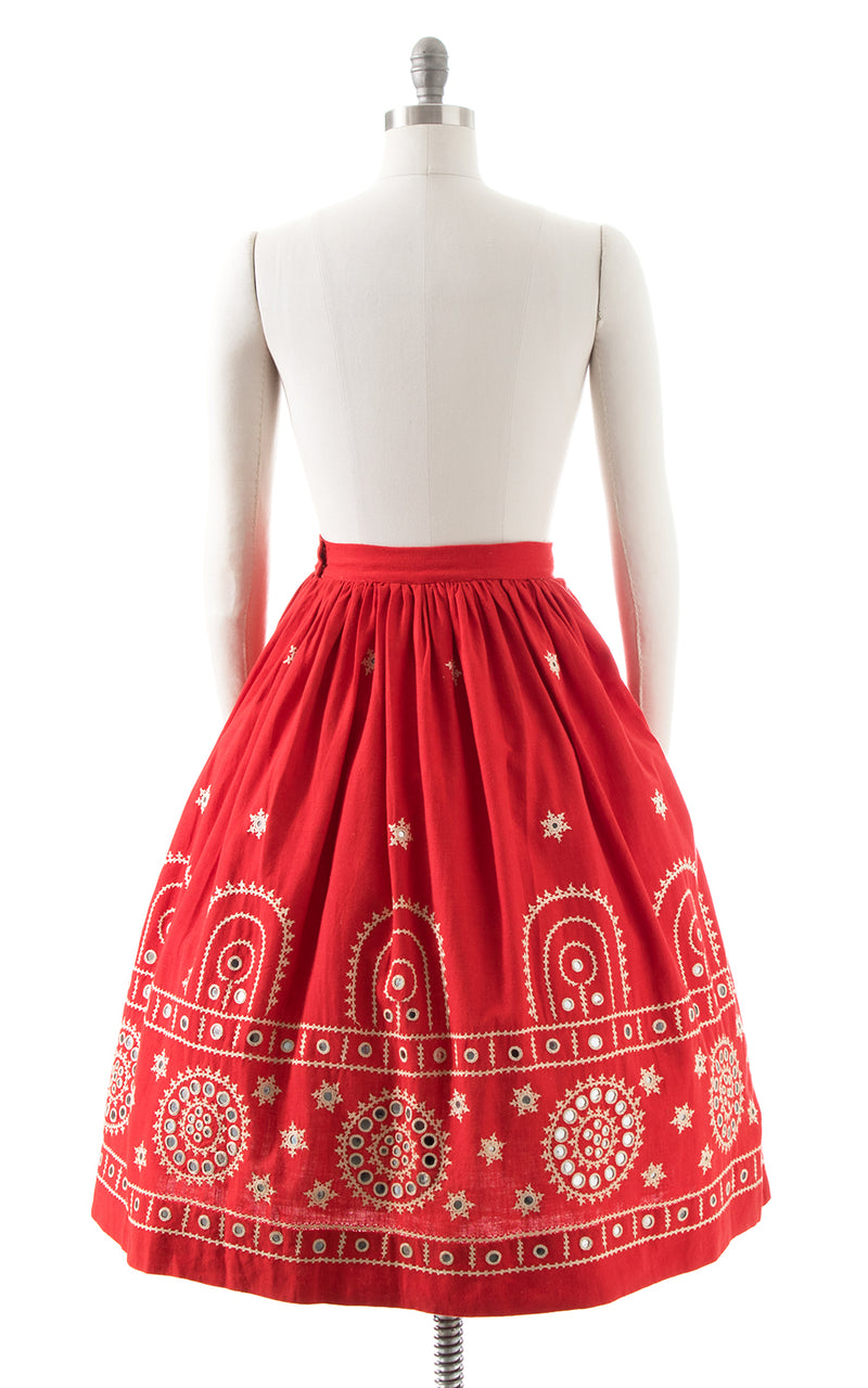 1960s Mirrored Embroidered Cotton Skirt