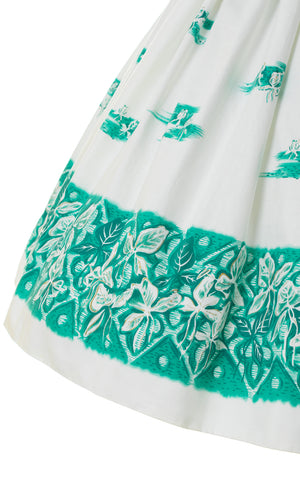 1950s Hawaiian Iris Border Print Cotton Sundress