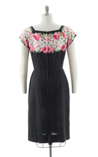 1950s Peggy Hunt Floral Sequin Silk & Linen Dress BirthdayLifeVintage