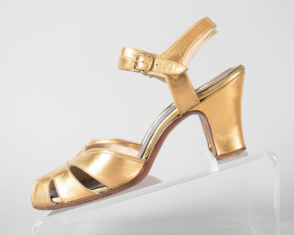 SOLD || 1930s 1940s Metallic Gold Cage Peep Toe Heels | size 5
