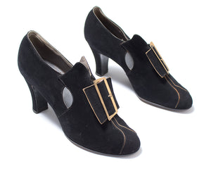 1930s Witchy Buckled Black Nubuck Leather Heels