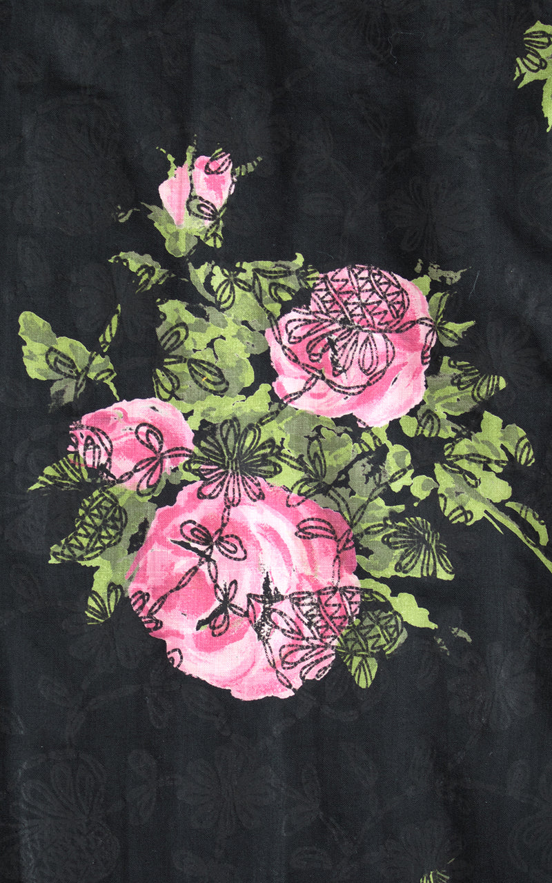 1950s Pink Rose Print Cotton Skirt