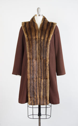 1940s Fur Collar Brown Wool Coat | small/medium