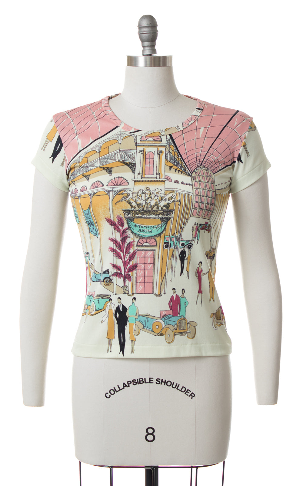 1970s Art Deco Auto Show Novelty Print Top