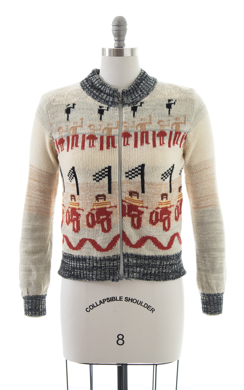 1970s Motorcycle Race Novelty Sweater