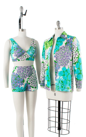 1960s Floral 3 Piece Sun Top, Shorts and Jacket Set