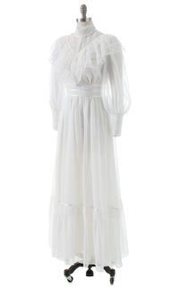 1970s Victorian Inspired Lace Ruffled Maxi Dress