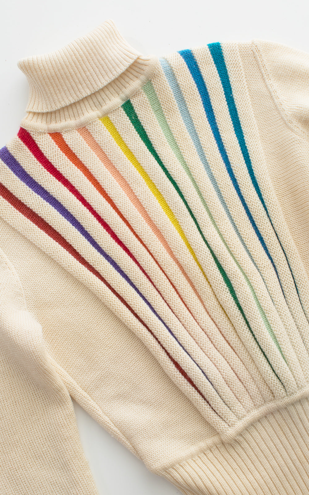 1970s 1980s Rainbow Striped Turtleneck Sweater