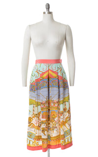 1980s Silk Carousel Novelty Print Skirt