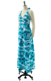 1970s Hawaiian Novelty Print Halter Maxi Dress