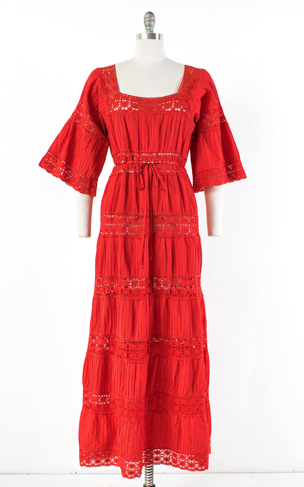 1970s Mexican Pintuck Cotton Crochet Red Maxi Dress | medium