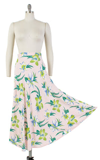 ♦ SOLD ♦ 1940s Hawaiian Hibiscus Cold Rayon Midi Skirt | small