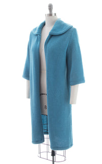 1960s Blue Chunky Knit Sweater Coat