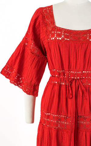 SOLD || 1970s Mexican Pintuck Cotton Crochet Red Maxi Dress | medium