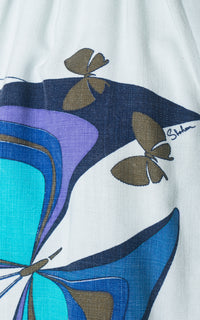 ♦ SOLD ♦ 1960s Alfred Shaheen Linen Butterfly Trapeze Blouse | medium/large