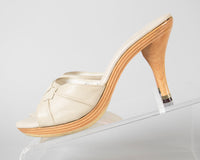 1960s Cream Wood Platform Open Toe Polly Style Heels | size 6