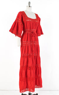 ♦ SOLD ♦ 1970s Mexican Pintuck Cotton Crochet Red Maxi Dress | medium