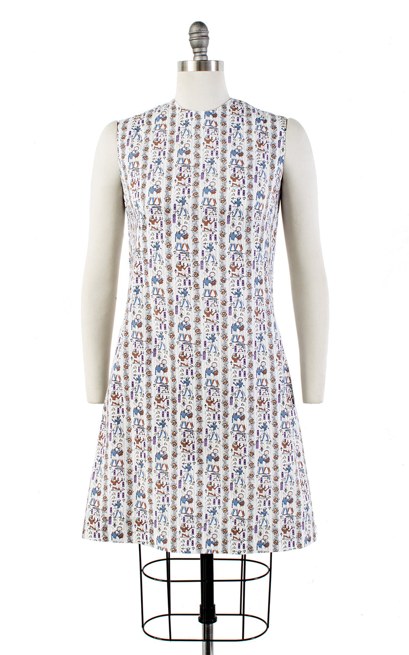 SOLD || 💐 SPRING CLEAROUT 💐 1960s Egyptian Novelty Print Cotton Shift Sundress | small