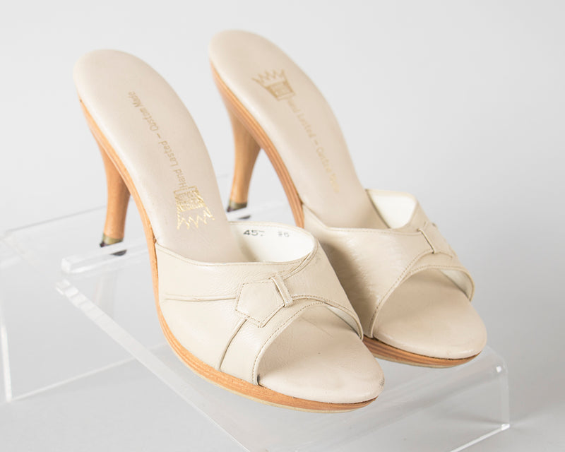 SOLD || 1960s Cream Wood Platform Open Toe Polly Style Heels | size 6