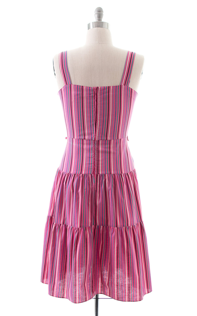 1970s Pink Striped Tiered Cotton Sundress