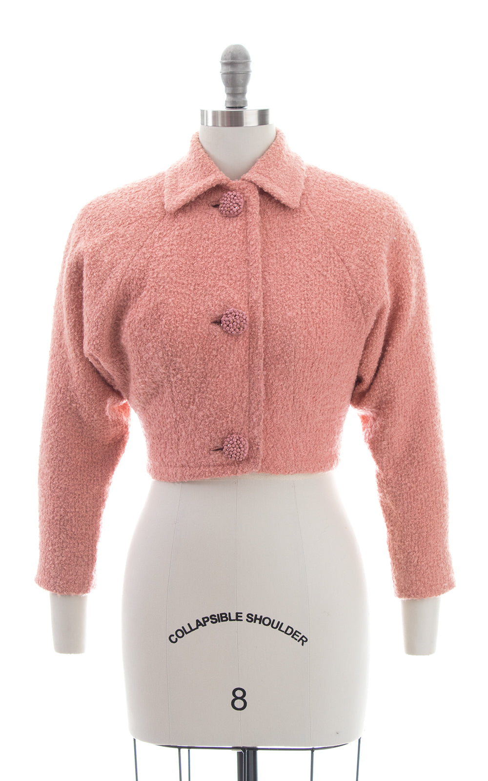 1950s Bubblegum Pink Bouclé Wool Cropped Coat