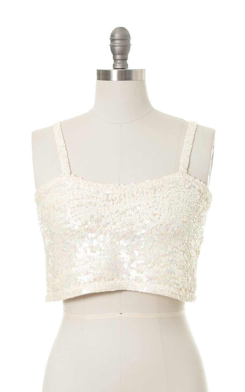 1990s 2000s Sequin Knit Crop Top