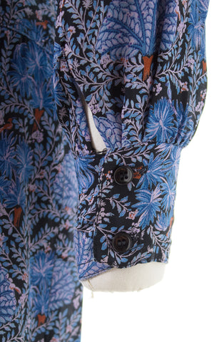 1980s Karin Stevens Birds & Plants Rayon Wrap Dress