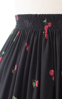 1990s does 1950s Hat & Cherries Novelty Border Print Rayon Skirt