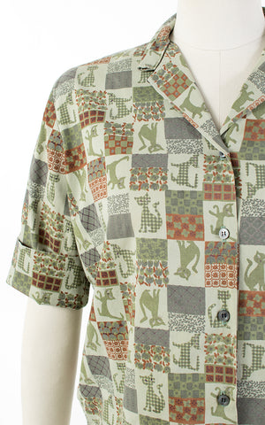 ♦ SOLD ♦ 1960s Cat Novelty Print Green Cotton Blouse | medium/large