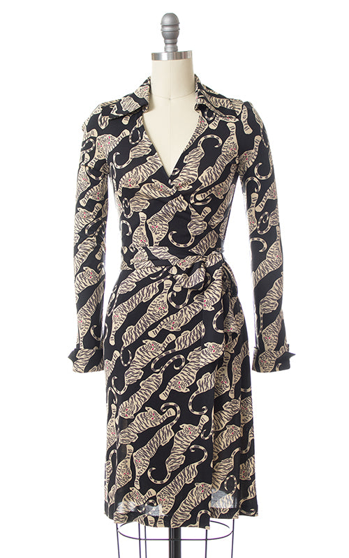 Vintage Diane von Furstenberg Tiger Novelty Print Silk Jersey Wrap Dress