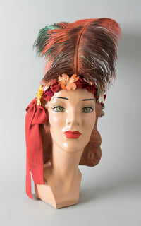 1920s Style Handmade Ostrich Feather Velvet Headdress