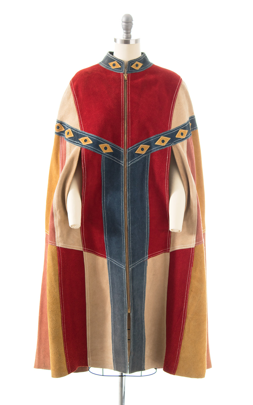 1960s 1970s Suede Patchwork Cape