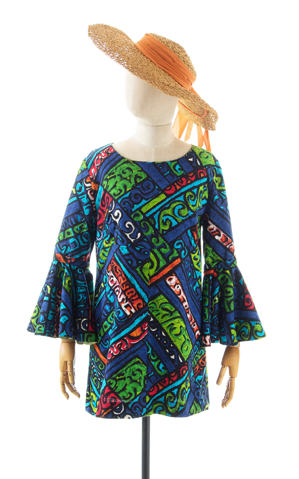 1970s Hawaiian Tiki Circle Sleeve Micro Mini Dress BirthdayLifeVintage