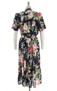 1980s Carol Anderson Rose Print Rayon Shirtwaist Dress with Pockets