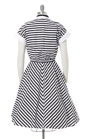 1980s Black Striped Cotton Dress with Pockets